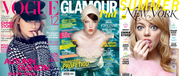 Images of Emma Stone on the front cover of various magazines