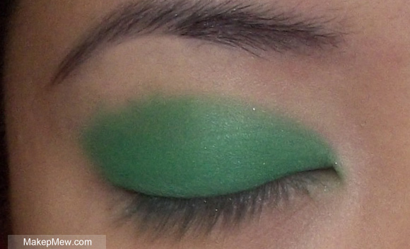 I chose a matte kelly green to apply all over my eyelid.