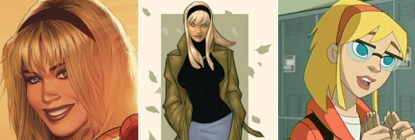 Images of various animated Gwen Stacy's