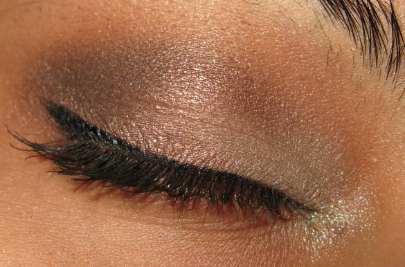 picture of eye with brown smokey eye makeup