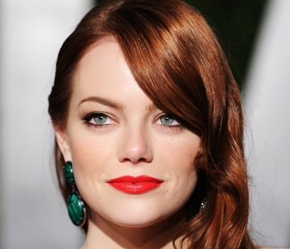 Image of Emma Stone wearing red lipstick