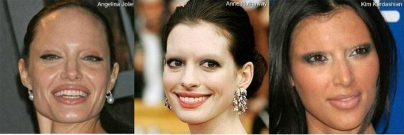 Image of celebrities without their eyebrows