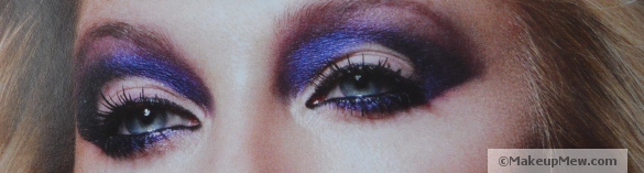 Image of a heavy and creative purple eye look (Marie Claire UK)