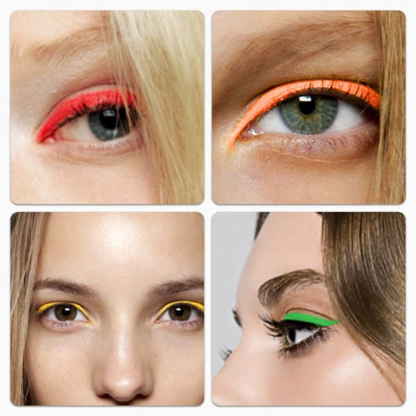 Picture of Eyes with Various Colors of Neon Eyeliner