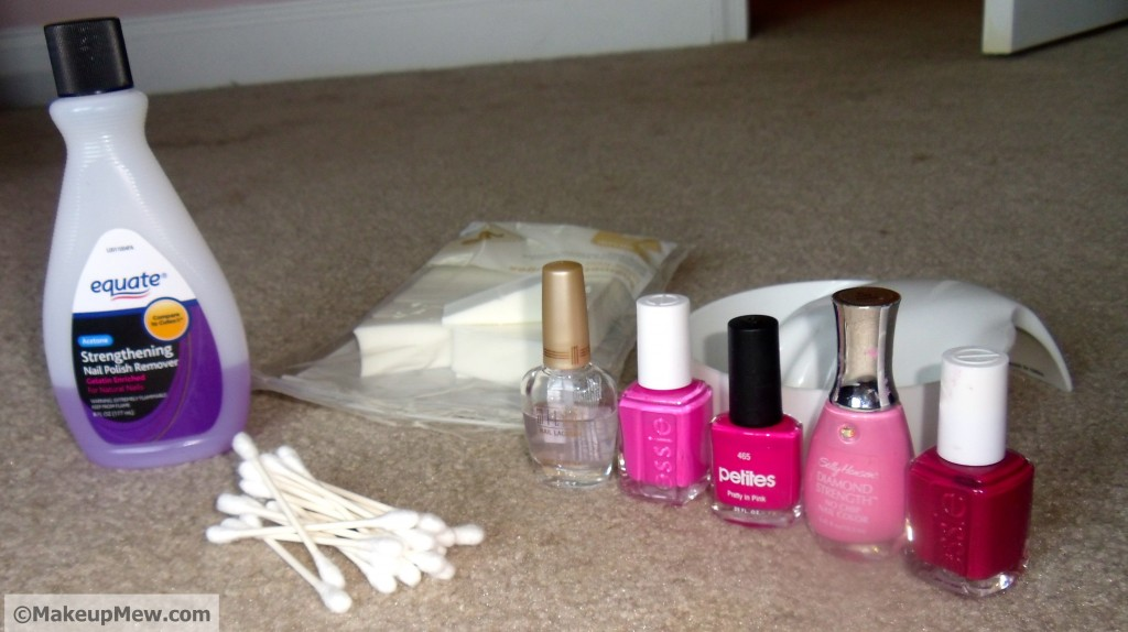 picture of materials needed to ombre nails tutorail
